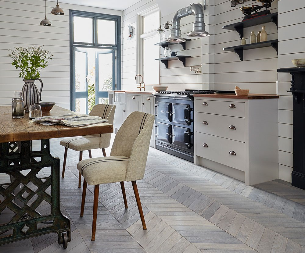 Kahrs Chevron Collection Engineered Wood in Light Grey